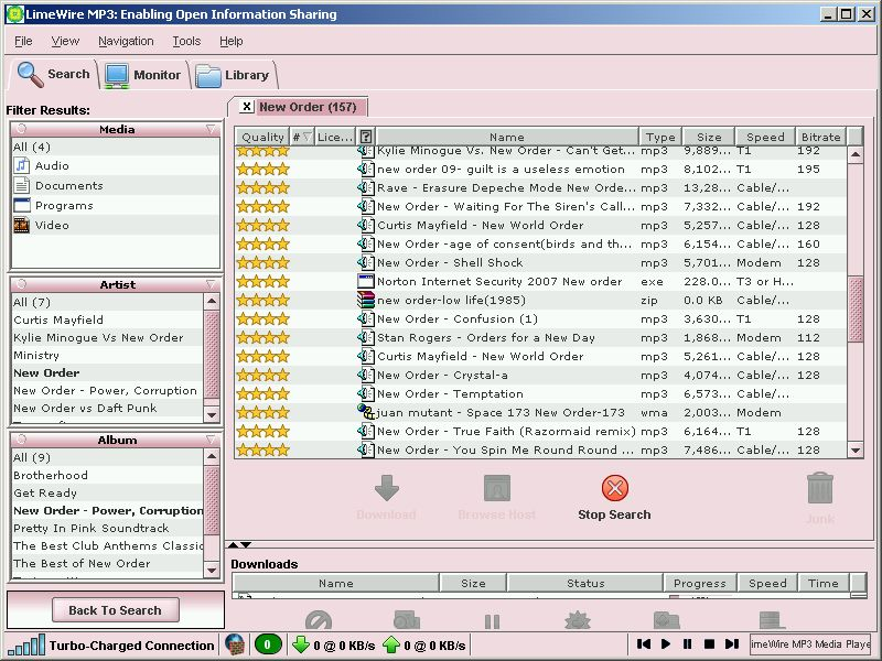 Click to view LimeWire MP3 4.0.4 screenshot